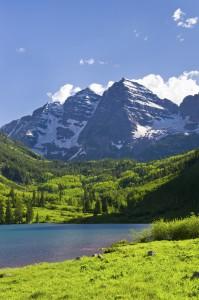 Maroon Bells in Summer Aspen Colorado
